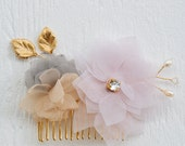 Chiffon and Swarovski crystals floral hair comb, bridal hair comb, flower comb, girls hairpiece, bridal headpiece, bridal hair comb