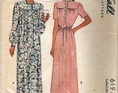 "Vintage 1945 McCall 6197 WWII Ladies Nightgown Wartime Sewing Pattern Size Extra Large Bust 42""-44"""