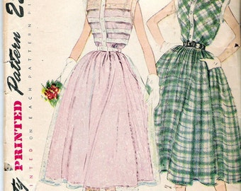 Vintage 1950 Simplicity 3252 One Piece Dress Sewing Pattern Size 12 Bust 30""
