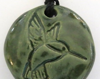 HUMMINGBIRD - Pendant / Necklace - Ceramic - Kelp Forest Green Art Glaze - Inspirational Art Piece