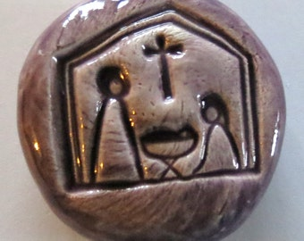 NATIVITY Pocket Stone - Ceramic - PURPLE Art Glaze - Inspirational Art Piece