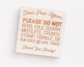 DO NOT BEND stamp. Business mail stamp. Wood-mounted with or without handle.  Style 009-01.