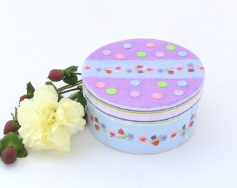 Springtime Mini Round Trinket Box in lavender, blue, pink