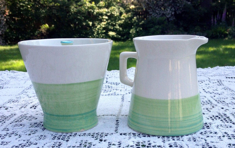 Colortone Sugar Bowl And Creamer Verde Handpainted Vintage