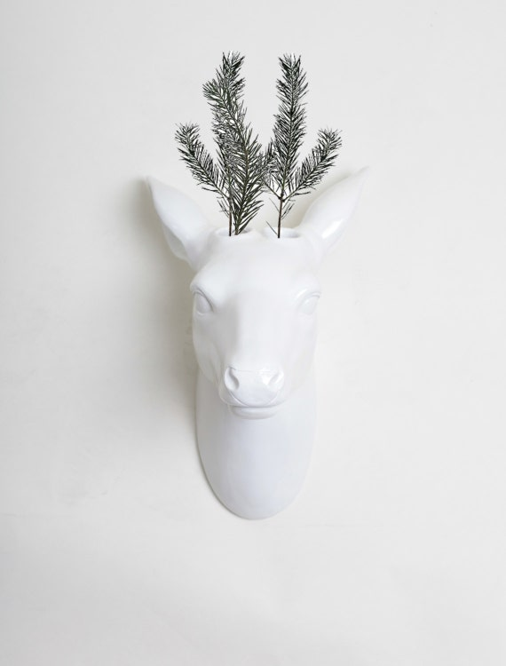 Deer Head Wall Vase White Deer Vase White Faux Taxidermy