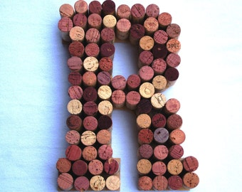 Wine Cork Letter R made from real wine corks! Cork letters Monogram Letter R wedding gift, anniversary gift, housewarming gift. Initial R