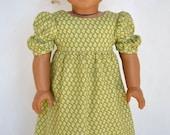 American Girl 18 Inch Historical Doll Dress Regency Era Empire Caroline - Grassy Green