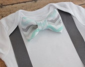 Chevron Bow Tie Mint or Gray Suspenders Baby Boy Toddler Outfit, Bodysuit Onesie Photo Prop, Coming Home Outfit, Baby Gift, Easter Clothing
