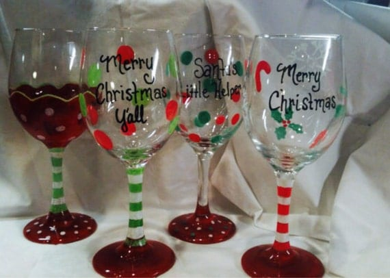 Christmas Wine Glass Hand painted. Custom Order Personalized
