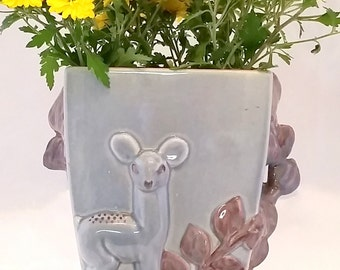Vintage Red Wing Vase Sculpted leaves Deer Doe Fawn Bambi purple gray rose mauve pink floral planter 1940s 40s mid century ceramic pottery
