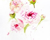 Peony Watercolor - Floral- Flowers - Peony Buds - Peony Painting - Peonies - Original Painting - Peony Watercolor - Pink Peony