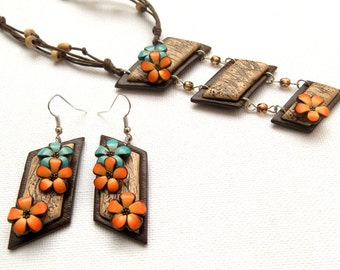 Flower Jewelry, Spring Jewelry, Flower Necklace, Flower Earrings, Brown Jewelry,Turquoise Flowers,Orange Flowers,Floral Fashion,Gift for Her