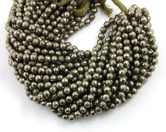 Natural Pyrite Stone, Large Faceted Rounds, AAA Quality Gems 5-6mm, 1 Strand (PYR/5-6/RNDL)