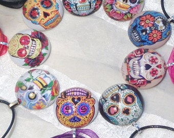 9 Styles Sugar Skull Necklaces on Ribbons or Vegan Leather Cord Handmade Jewelry by NorthCoastCottage