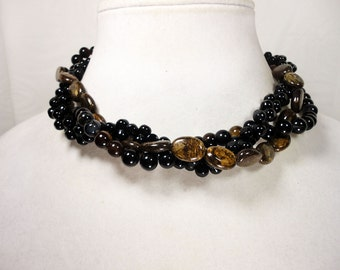Black and Brown Gemstone Braided Necklace