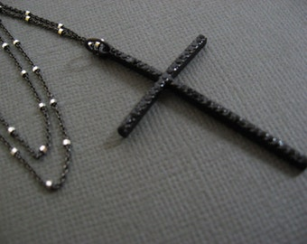 Cross charm Long necklace, Long black Cross necklace, Religious jewelry, satellite chain, dlicate and dainty jewelry