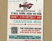 Crawfish boil birthday party invitation printable Crawfish birthday party Crayfish boil party invite Adult crawdad party Rustic birthday