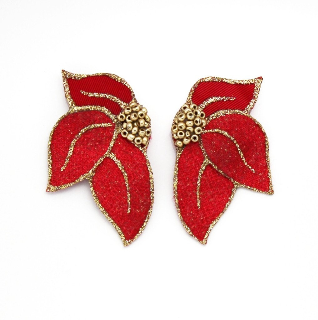 Handmade Red Fabric Leaf Magnetic Clip Non Pierced Earrings