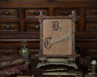 Be Thankful Antique Reproduction Victorian Motto Paper Punched Motto