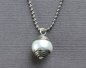 Tibetan Pearl Necklace Boho Chic Minimalist Silver Bohemian Layering Fashion Tibet Modern Classic Jewelry Paisley Beading FREE Shipping