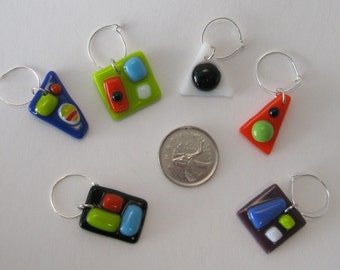 Fused Wine Glass Charms - Set of 6 (WC012)