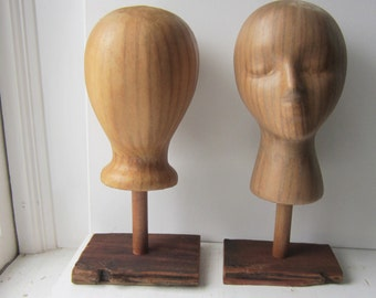 On Sale YOUR CHOICE Kraft Brown Mannequin Head Hat Display With Base Stand - Unisex Featureless or With Features - Made to Order