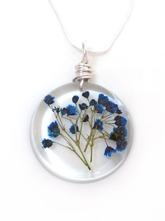 Blue Baby Breath Resin Necklace Real Pressed Flower Encased