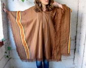 Painted Hills 1970s Striped Woven Fringe Poncho OS