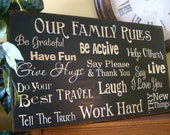 LARGE Our Family Rules Wooden Primitive Sign