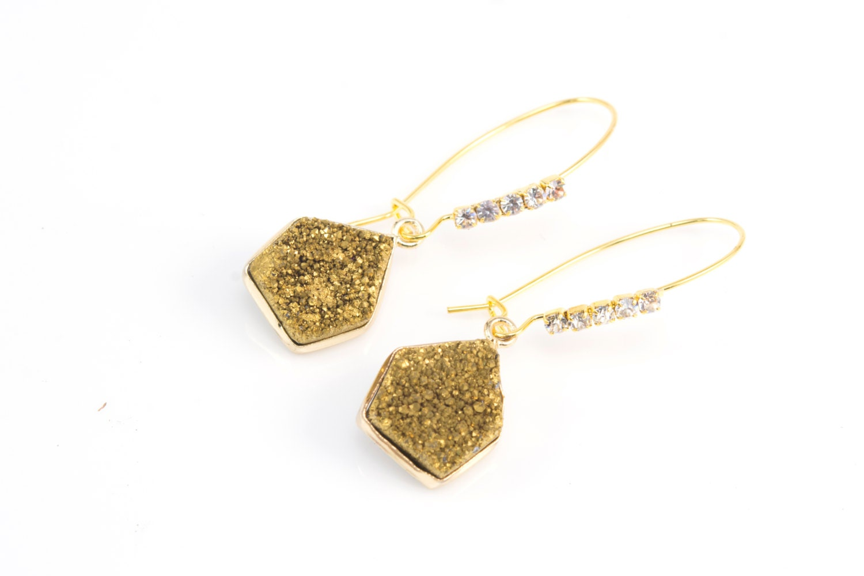 golden druzy quartz gemstone earrings drusy geode