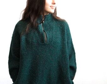 COLUMBIA style vintage HUNTER GREEN spring fleece Sweatshirt