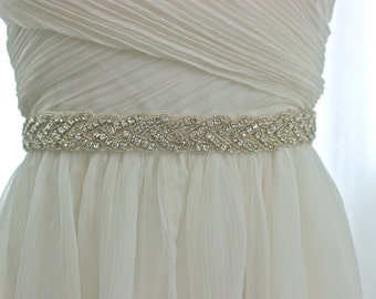 Ships from USA - Wedding belt, wedding sash, Bridal crystal belt, rhinestone sash, braided beaded sash, crystal sash, bridal sash