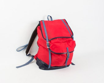 Vintage Red Nylon Backpack / Red Blue Marine Hiking Rucksack Deadstock Shoulder Bag / Messenger Bag / School Bag / Hipster Bag  MacBook Ipad