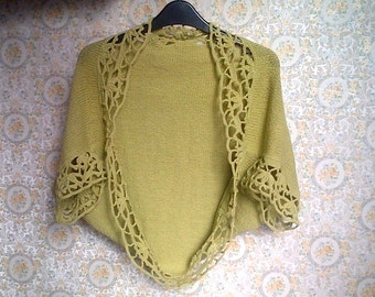 Green Knit Shrug, Green Knit Bolero, Green Knit  sleeves, Sizes XS to Plus Sizes