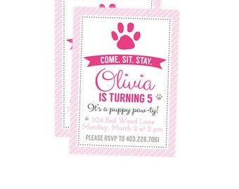 Girl's Puppy Birthday Party Invitation - Pink Puppy Party - Dog Birthday Party - Puppy Pawty - Puppy Adoption Printable - Adopt A Dog party