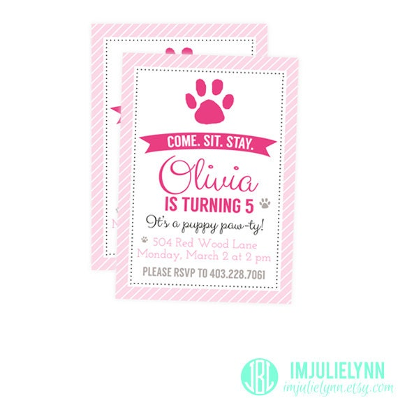 girl's puppy birthday party invitation pink puppy party, Party invitations