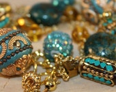 Long Beaded Necklace- Turquoise and Gold Mixed Beads- One of a Kind- gold chain