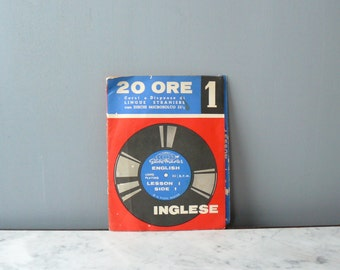 Vintage vinyl records. 1960s English language course. Nine lessons with vinyl records