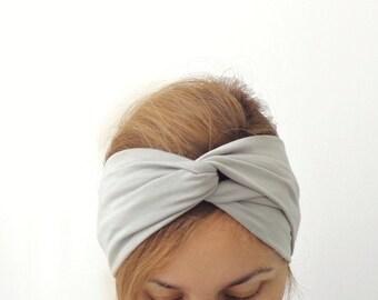Turban Headband , Light Grey Head Band , Jersey Hair Band, Hair Wrap with Twisted Center