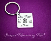 Our First Home - Hand Stamped Aluminum Key Chain - Move in With Me Keepsake Keychain - Boyfriend/Girlfriend, Husband or Wife Gift