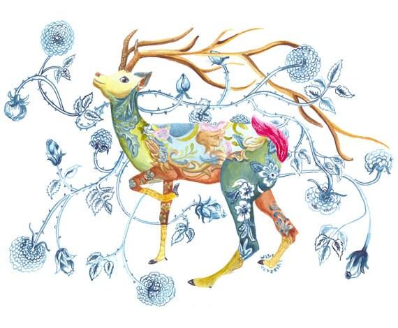 Deer Deers Deer With Flowers Spring Deer