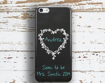 Soon To Be Mrs Iphone 6 case, Engagement Iphone 5c case, Bride to Be iPhone 5 case, Future Mrs iPhone 4 case, Chalkboard turquoise  (1157)