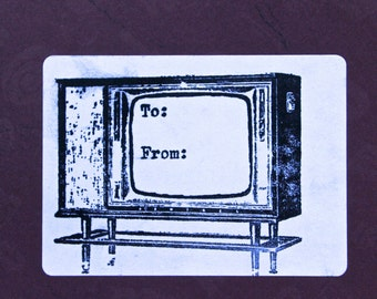 To and From Vintage TV stamp by Michelle E. Black