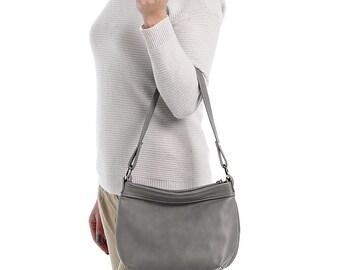 Leather Handbag Purse Hobo Grey Bag - SMALL HELEN