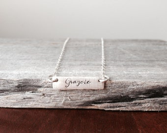 Personalized Bar Necklace Sterling Silver Bar Necklace Personalized Gift Hand Stamped Bar Necklace