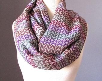 Infinity scarf, knit scarf, knit pattern scarf, fall scarf, winter scarf, striped scarf, neutral scarf