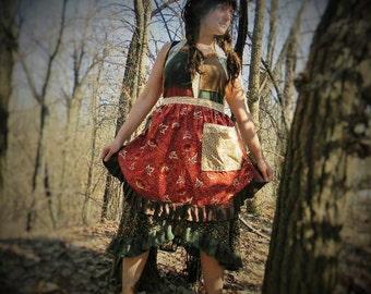 LittleRedHen~ APRON~waist apron w/ Pocket-upcycled printed cotton
