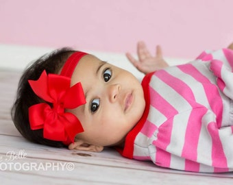 Baby Headband, Red Bow, Infant Headband, Newborn Headband - Red Bow Headband, Headband, Pinwheel Bow on Fold over elastic