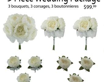 9 Piece Wedding Package - Silk Wedding Flowers - Bridal Bouquets - Peony Wedding Bouquets