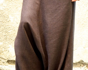 NEW Collection Loose Linen Brown Harem Pants / Extravagant Drop Crotch Brown Pants Extravagant Trousers by AAKASHA  A05131